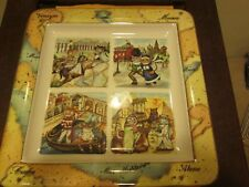 "Tourist Cats Made In Italy Large Plate New No Box 14.5"" x 14.5"""