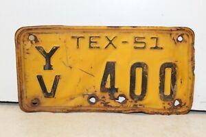 Vintage 1951 TEXAS TX Motorcycle License Plate Harley Indian Honda