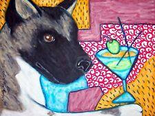 Akita drinking a Martini Pop Art Print 5 x 7 Dog Collectible Signed Artist Ksams