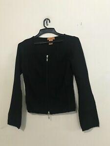 Essendi Silk Size S Black Ribbed Cardigan Zip Up Women Sweater Top Quality