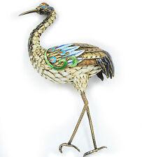 "Marked 5.5"" Vintage Silver & Enamel Bird Figurine"