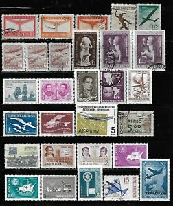 Argentina Stamps Collection of 39 Mint & Used Includes Airmails & MRC Overprints