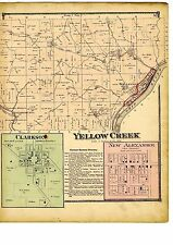 1870 Map of Yellow Creek, Ohio, w/family names, from Atlas of Columbiana County