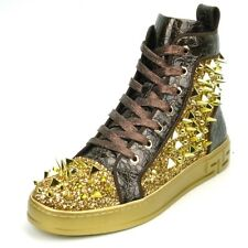 Encore by Fiesso Gold/Brown High Top Sneakers with Glitter and Spikes FI 2369