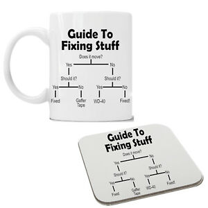 Guide To Fixing Things Builder Plumber Funny Mug Coaster Cup Birthday Gift