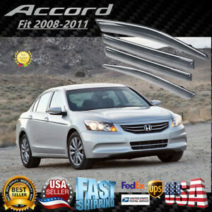 For Honda Accord 2008-2012 Chrome Trim Window Vent Visors Rain Deflector Clip-On