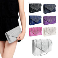 Women Silver Diamante Prom Handbag Ladies Wedding Evening Clutch Bag Purse UK