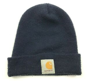 VINTAGE Carhartt Hat Cap Beanie Navy Blue One Size Knitted Adult Workwear 90's