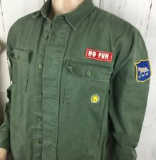 Pacsun Shirt Boxy Fit Military Style Long Sleeve Button Front Green Patches M