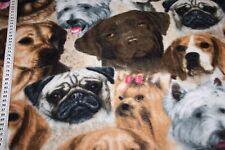 Fleece Stoff Hunde Mops  1m
