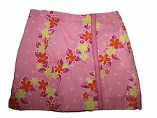 Girl Lilly Pulitzer Lei'd Back Hawaiian Floral Skort Pink Size 12