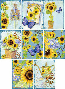 Vintage inspired sunflower stationery cards ATC set of 8 with organza bag