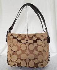 Coach 24CM Signature Brown Duffle Shoulder Bag Handbag F15067 Leather