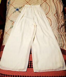 Vintage 1980s Palazzo Pants White Scala Elastic Waist Sheer Lined Disco Boho