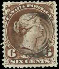 Canada #27a used F-VF 1868 Queen Victoria 6c yellow brown Large Queen CV$130.00