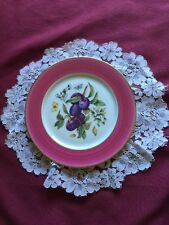 "Emil de Limoges 7.5"" Porcelain Plate Plum Fruit Center Mauve Rim Gold Trim"