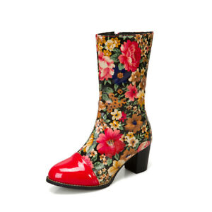 Korean Casual Floral Faux Leather Women Shoes Colorblock Round Toe Side Zip Boot