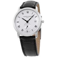 Frederique Constant Slimline Silver Dial Leather Strap Men's Watch FC245M4S6