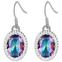 Charming Wedding Jewelry Oval Rainbow Mystic Topaz Gems Silver Dangle Earrings