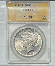 1934-D Peace Dollar $1 ANACS AU58