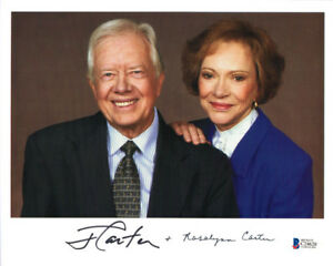 JIMMY & ROSALYNN CARTER SIGNED 8x10 PHOTO PRESIDENT & FIRST WIFE BECKETT BAS