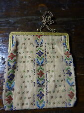 An antique micro bead purse bag with gilded brass chain