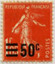 "FRANCE STAMP TIMBRE N° 225 "" SEMEUSE SURCHARGEE 50 C S 1 F 05 "" NEUF x TB"