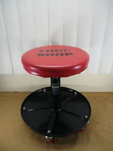 TOOL SHOP Rolling Pneumatic Adjustable Work Shop Stool Seat w/ Tool Tray -- Red