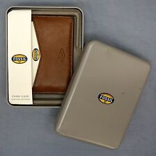 NWT Fossil Tan Saddle Genuine Leather Elliot Card Case Mens Wallet NEW