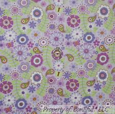 BonEful Fabric Cotton Flannel Purple Green White Flower Paisley Butterfly SCRAP