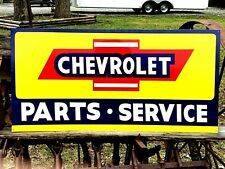 """Vintage Metal Chevy CHEVROLET SERVICE Truck Car Gas Oil 18x36"""" Hand Painted Sign"""