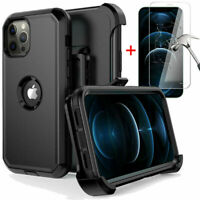 For iPhone 12/12 Pro Max/Mini Case Rugged Cover+Glass Screen Protector+Belt Clip