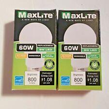 MAXLITE (LOT of 2) E9A19DLED27G6 14099394 9W A19 LED Dim/Omnidirectional - 2700K