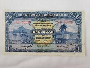 1942 Trinidad and Tobago One Dollar Bill Paper Money Banknote