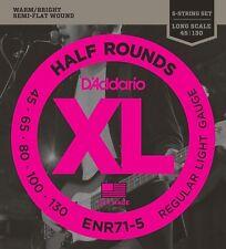 D'Addario 5 string ENR71-5 Half Rounds Bass Strings Regular Light 45-130