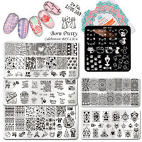 BORN PRETTY Nail Stamping Plates Rectangle Square Flower Image Plate Nail Art