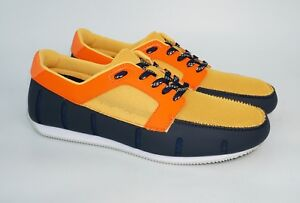 SWIMS Men's Mesh and Rubber Lace Up Sneaker Loafers, Navy/Orange, MSRP $195