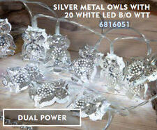 Noma Christmas String Silver Metal Owl Lights 20 x LED