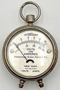 Vintage American Ever Ready Antique Amp Volts Amperes Gauge Eveready Volt 1204