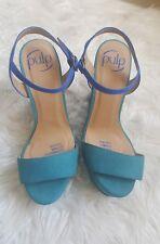 PULP blue green suede platform heels ankle toe strap size 6