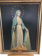 """Antique Virgin Mary Oil on Canvas Painting signed M. Covin 28"""" x 36 Framed"""