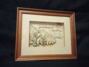 Anton Pieck 3D Art Paper Sculpture Flower Peddler/stall Framed w/ Glass 1970s