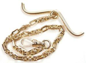 """Antique Art Deco Vintage Men's Pocket Watch Chain 14KY 8.25"""" Length 18.7 Grams"""