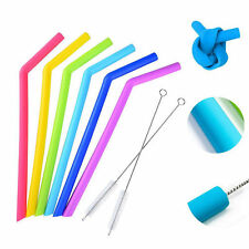 6X Reusable Food Silicone Drinking Angled Straws with 2X Cleaning Brushes Set