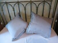 Pair of The White Company 100% huge silk cushions duck feather filling grey