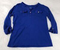 Charter Club Womens Long Sleeve Shirt Blouse Pima Cotton Blue Luxury