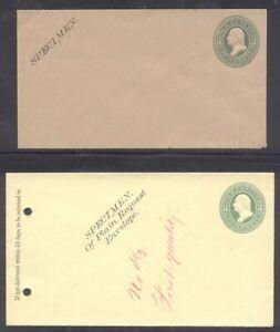 U.S. #U164, 167 Mint SPECIMEN Entires - 3c Green