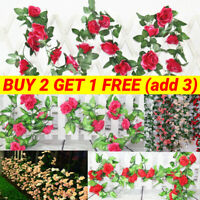 2pcs 8Ft Artificial Rose Garland Silk Flower Vine Ivy Wedding Party String Decor