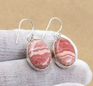 925 Sterling silver stud earrings with 8 mm natural Rhodochrosite cabochons