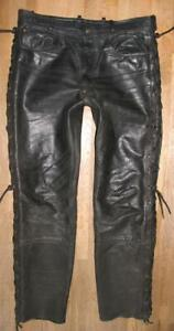 """HEIN GERICKE CLASSIC GEAR Leather Jeans/Lace-Up Black Approx. W36 """" / L32 """""""
